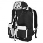 K-II SPO-1114 Barrel-Shaped Outdoor Sport Nylon Backpack - Black + White (28L)