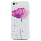 XH-01 Stylish Flower Pattern Crystal-inlaid PVC Back Case for Iphone 5 - White + Purple