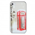 Stylish Retro Telephone Booth Pattern Plastic Back Case for Iphone 4 / 4s - White + Red