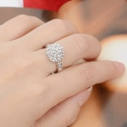 KCCHSTAR 18K Platinum Plating Ball Ring w/ Artificial Diamond - Silver (US Size-8)