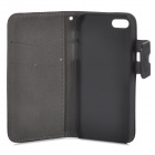 Protective Flip-open PC + PU Leather Case w/ Holder + Card Slot for Iphone 5 / 5s - Black