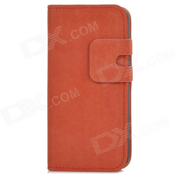 Protective Flip-open PU Leather Case w/ Holder + Card Slot for Iphone 5 / 5s - Orange protective flip open pu case w stand card slot for iphone 5 5s pink