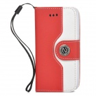 Protective PU Leather + Plastic Flip-open Case for Iphone 4 / 4s - White + Red