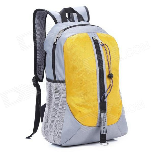 Locallion H-011 Multi-Functional Outdoor Mountain Nylon Backpack - Grey + Yellow (25L) oumily reflective multi purpose paracord nylon rope cord reflective grey 30m 140kg