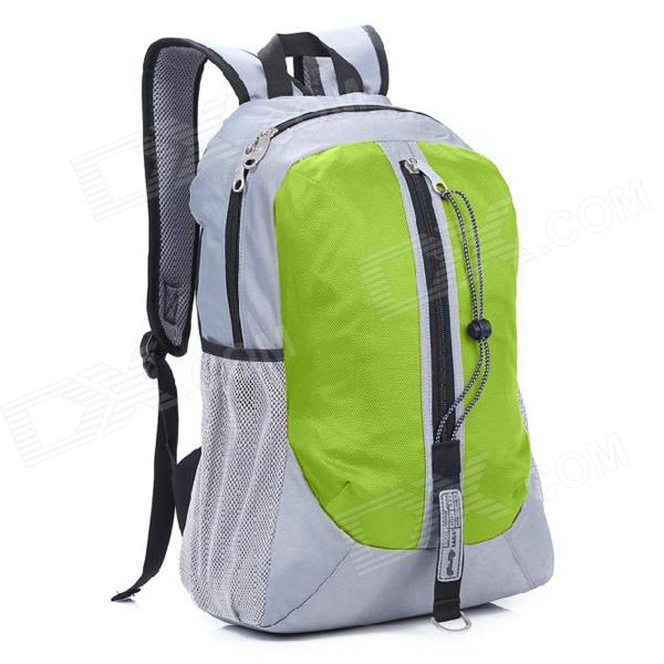 Locallion H-011 Multi-Functional Outdoor Mountain Nylon Backpack - Grey + Green (25L) oumily reflective multi purpose paracord nylon rope cord reflective grey 30m 140kg