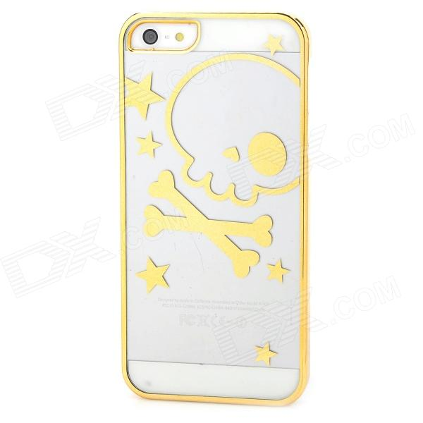 Фото Skull Pattern Protective ABS Back Case for Iphone 5 / Iphone 5S - Golden + Transparent a100 happy valentine s day pattern protective plastic back case for iphone 5 5s transparent