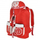 K-II SPO-1114 Barrel-Shaped Outdoor Sport Nylon Backpack - Red + White (28L)