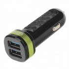 LDNIO DL-C21 Dual-USB Smart Car Cigarette Lighter Power Charger - Black + Green (12~24V)