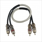 OTW-001 Double Side 2-Cinch-Stecker auf Stecker Audio-Kabel-Draht für Auto - Black + Transparent Weiß (50cm)
