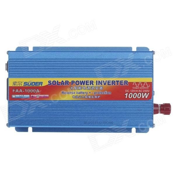SUOER FAA-1000A 1000W DC 12V to AC 230V Solar Power Inverter w/ Reverse Battery +/- Protection -Blue solar power on grid tie mini 300w inverter with mppt funciton dc 10 8 30v input to ac output no extra shipping fee