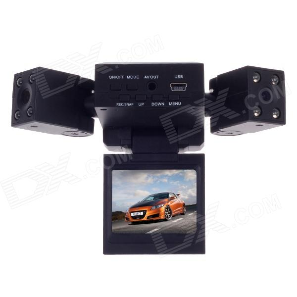 JF HD-188 2.0 TFT LCD 1.3 MP CMOS Dual Lens Wide Angle Car DVR Camcorder w/ 8-IR LED / TF - Black