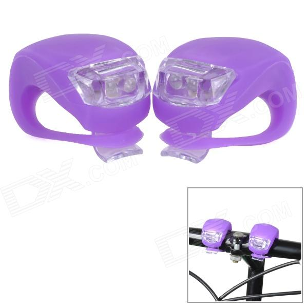 FJQXZ Outdoor Cycling 3-Mode 2-LED Cool White Bike Lamps - Purple (4 x CR2032) letterfire mt 08 usb powered led 600lm 3 mode white cool white bike light pink purple