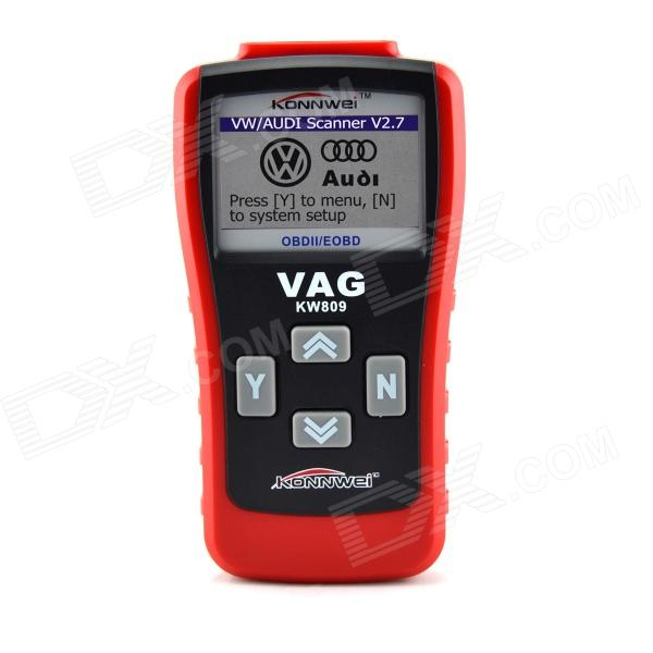 KW809 2.8 LCD OBDII / EOBD Multifunction Car Diagnostic Scanner for CAN VW / AU-DI - Red + Black high quality vas5054a with oki full chip car diagnostic tool support uds protocol vas 5054a odis v4 13 bluetooth for audi for vw