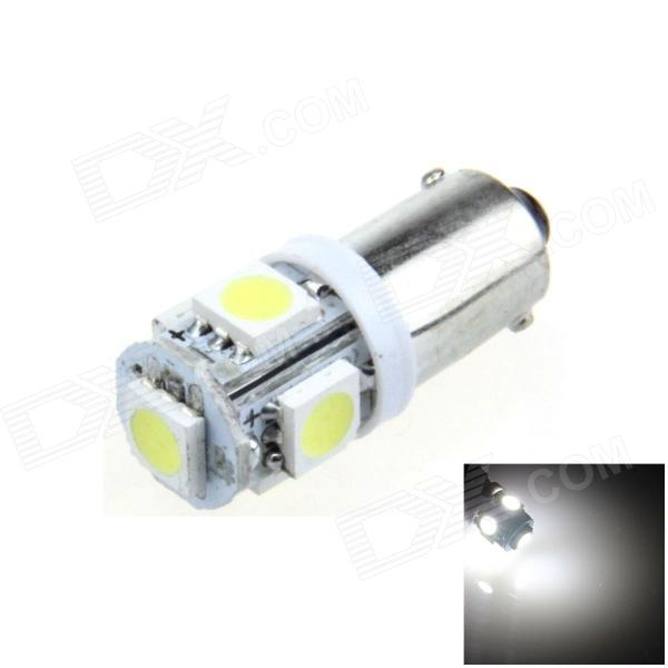 BA9S / W6W 1W 80lm 5 x SMD 5050 LED White Car Indicator Light / Instrument / Clearance Lamp - (12V)