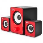 JEWAY JS3301 USB 2.0 Wired 2.1-CH Subwoofer Bass Speakers Set - Red + Black
