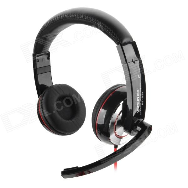Gorsun M962 Stereo PC Game Headset Headphones w/ Microphone - Black + Red (3.5mm Plug / 200cm-Cable) oyk wired double side headband stereo headphones w mic for gaming pc red black 3 5mm plug
