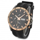 BARIHO H011 Fashion PU Plastic Band Analog Quartz Wrist Watch - Black + Rose Gold (1 x 626)