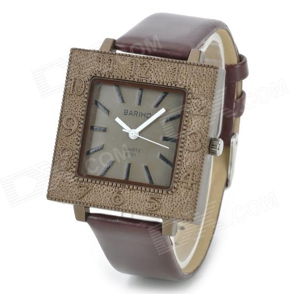 BARIHO E721 Retro Style Leather Band Analog Quartz Wrist Watch - Coffee (1 x 626) видеоигра microsoft minecraft xbox one цифровой код