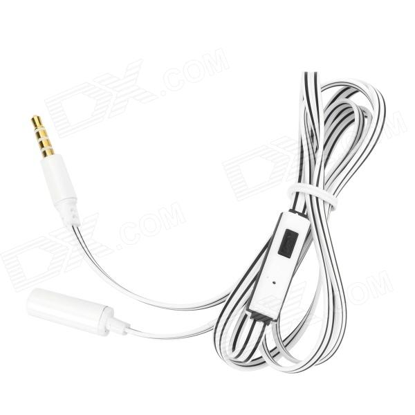 3.5mm Male to Female Flat Audio Cable w/ Mic - White + Black