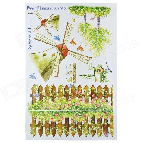 AY907 Lovely Cartoon Windmill & Fence Pattern Wall Sticker - Red + Green
