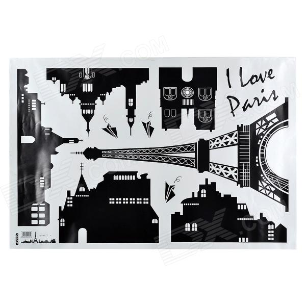 AY935 Stylish Eiffel Tower Building Pattern Wall Sticker for Home - White + Black