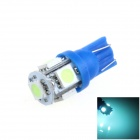 T10 / 194 / W5W 1W 100lm 5-SMD 5050 LED Ice Blue Car Side Light / Instrument / Reading lamp - (12V)