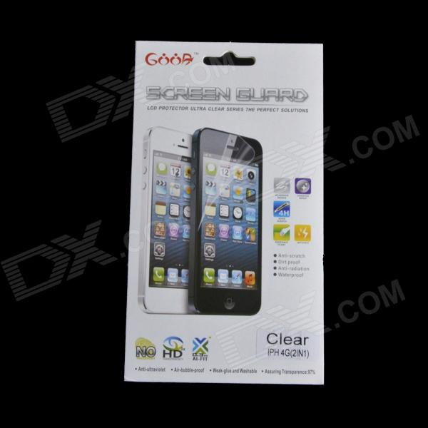 AYA-4G Diamond Effect Screen Protector + Back Skin Protector Set for Iphone 4 / 4s - Transparent