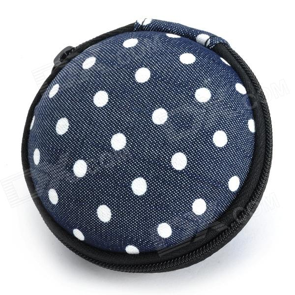 Stylish Polka Dot Pattern Anti-Pressure EVA + Fabric Storage Bag for Earphones - Black + White