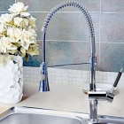 YDL-F-0526 Contemporary Chrome Finish Pull out Single Handle Kitchen Faucet - Silver