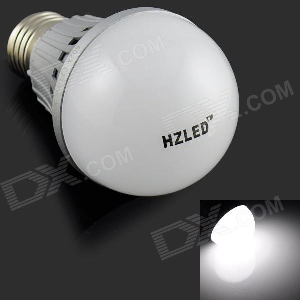 HZLED E27 7W 575lm 6000K 14 x SMD 5630 LED White Light Lamp Bulb - White + Silver (AC 220V)
