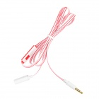 3.5mm Female to Male Flat Audio Cable w/ Mic Button - White + Red
