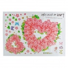 AM7006 Romantic Rose Heart Pattern Wall Sticker for Bedroom / Living Room - Pink + Light Green