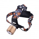 BORUiT RJ-2800 LED 3-Mode 500LM Zooming Headlamp - Golden + Silver (1 or 2 x 18650)