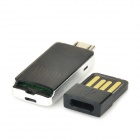 KINGMAX KOTGR-01 Micro USB MicroSD / TF Card Reader w/ USB 2.0 Adapter - Black + Silver (Max. 64GB)