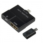 CY MH-066-BK Micro USB 5-Pin / 11-Pin MHL to HDMI HDTV Adapter for Samsung - Black