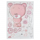 JM8229 Cute Cartoon Bear Pattern Wall Sticker for Kid's Bedroom - White + Light Pink