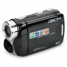 "RICH DVH-592II 3.0"" TFT Screen 16MP CMOS HD DV Digital Video w/ 2 SD / 2 Battery Modes - Black"