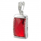 SZ-8 Keyring Zinc Alloy + Rhinestones USB 2.0 Flash Drive - Red + Silver + Black (8GB)