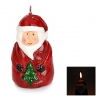 Santa Claus Style Paraffin Candle - Red + White