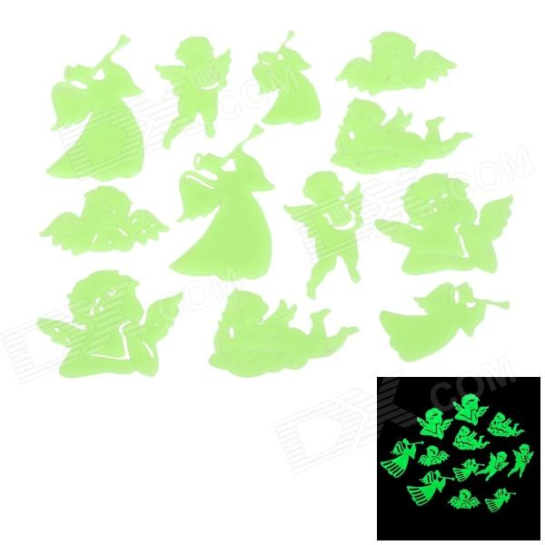 LX_12 Cute Glow-in-the-Dark PVC Angle Style Sticker for Room Decoration - Light Green (12PCS)