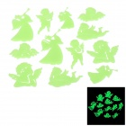 LX_12 Nette Glow-in-the-Dark Angle PVC Art-Aufkleber für Raumdekoration - Light Green (12PCS)