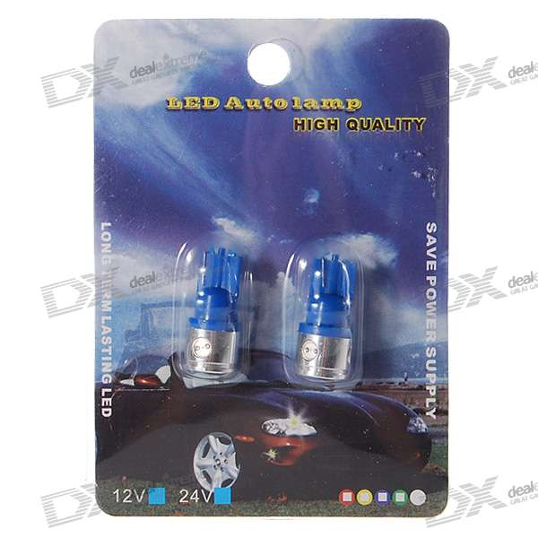 T10 9518 4W Blue Light 4-LED Car Signal Light Bulbs (2-Pack/DC 12V)