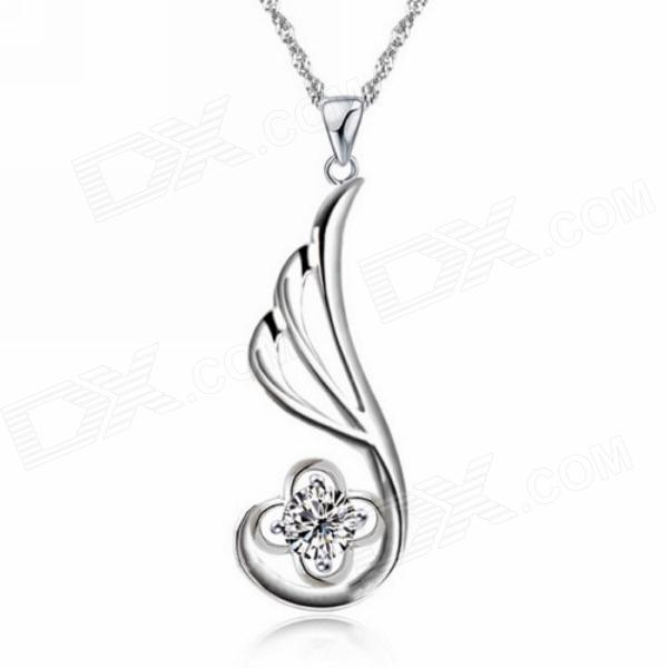 "Equte PSIW265 Argent 925 Angle 5mm collier pendentif Zircon Wing - Argent (18"")"