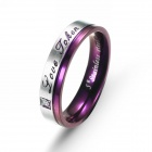 eQute RSSC9WS7 Charming 316L Stainless Steel Ring for Women - Silver + Purple (Size 7)
