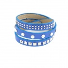 Fashionable Multilayer Braided Leather Rope Bracelet - Blue