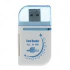 4-in-1 USB 2.0 Micro SD / TF / SD Card Reader - Weiß + Blau (max. 32GB)