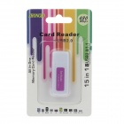 4-in-1 USB 2.0 Micro SD / TF Card Reader - White + Deep Pink (Max. 32GB)