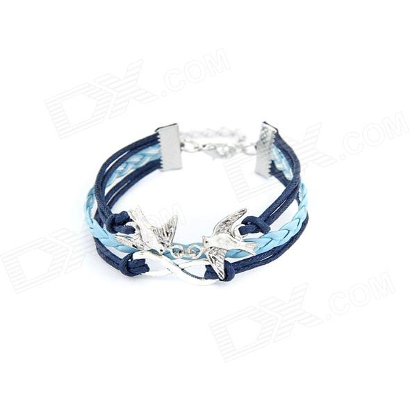 Fashionable Vintage Multilayer Braided Rope Bracelet - Silver + Blue