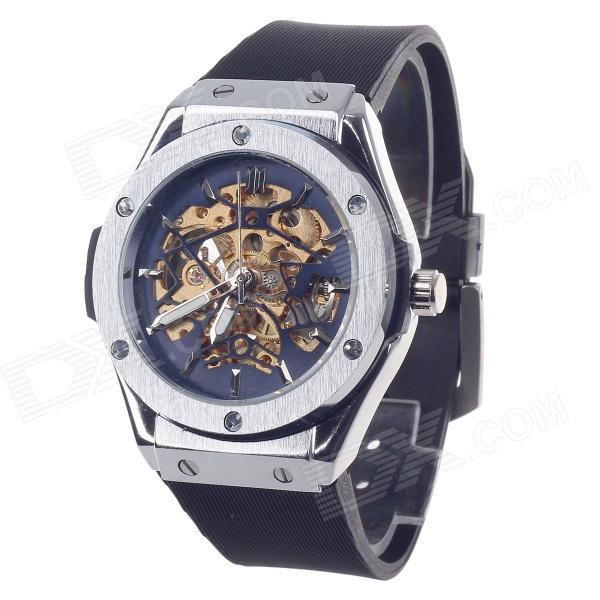 Hollow Out Style Automatic Mechanical Glamour Men's Wrist Watch - Black+ Silver