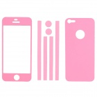 Elonbo Stylish Decorative Full Front Screen Protector + Back Skin Sticker Set for iPhone 5 - Pink